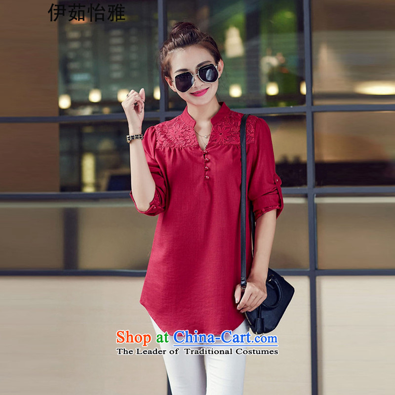 El-ju?2015 Autumn Yee Nga new high-code in the women's long thick sister to increase video thin YZ5368 shirt?XXXL chestnut horses