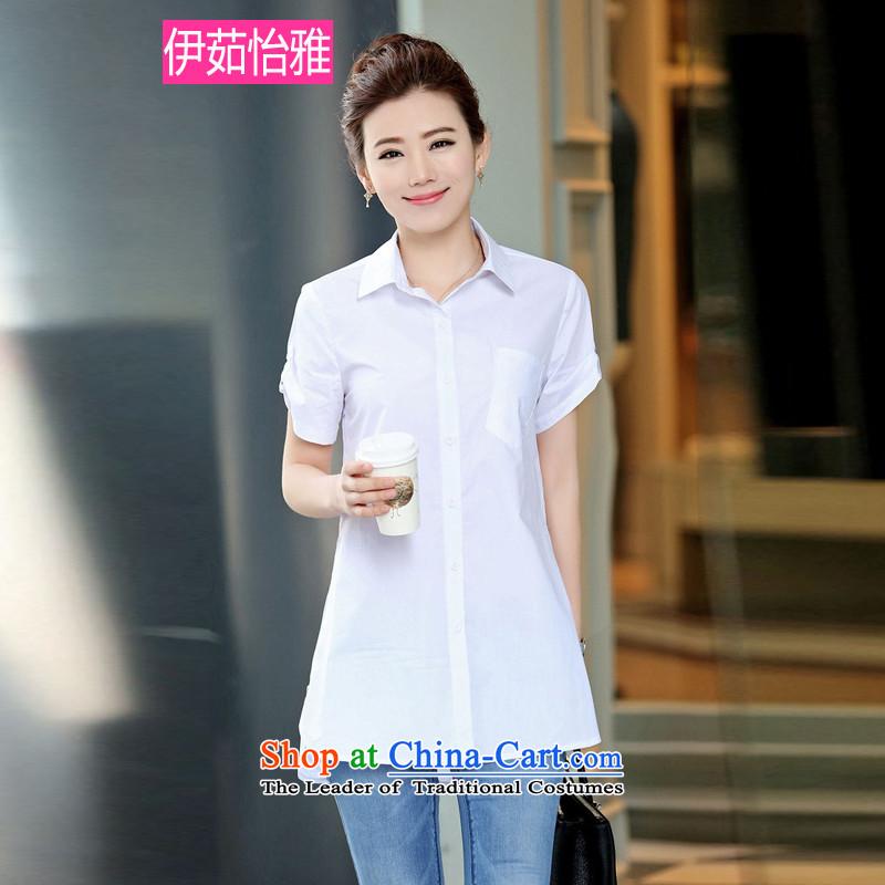 El-ju Yee Nga�15 Summer new larger female zipper stitching thick, Hin short-sleeved shirt YZ5560 thin white燤
