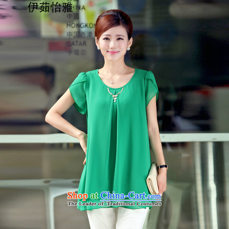 El-ju Yee Nga young mothers with new summer 2015 large female thick MM VIDEO Plus thin fertilizer snow woven shirts YZ6163 GREEN M