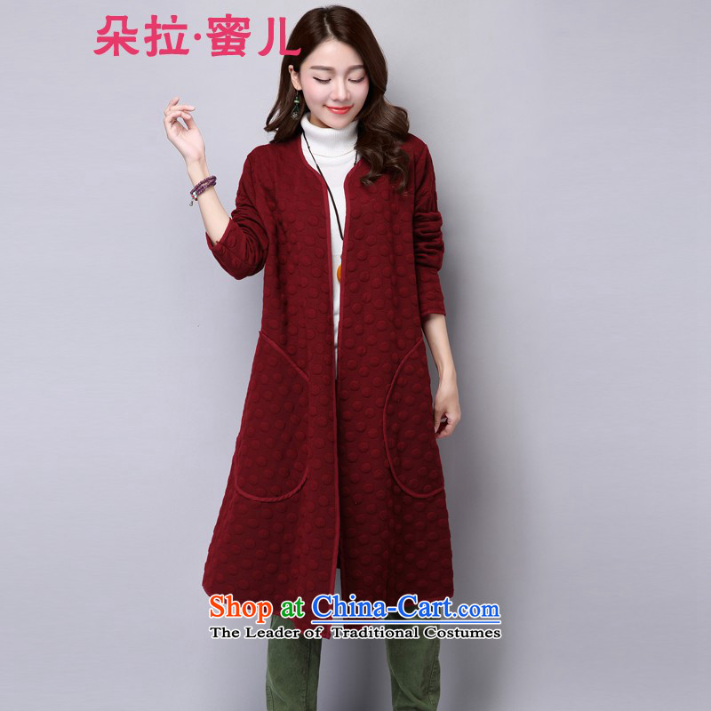 Mr. Flower honey- 2015 autumn and winter new thick MM loose large video clip cotton Sau San thin long-sleeved dresses in long jacket, 99128 Female Red M
