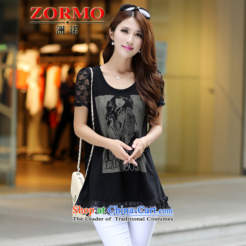 Large ZORMO Women 2015 Summer new lace stitching short-sleeved T-shirt larger Girl doll loaded thick mm black t-shirtXXL