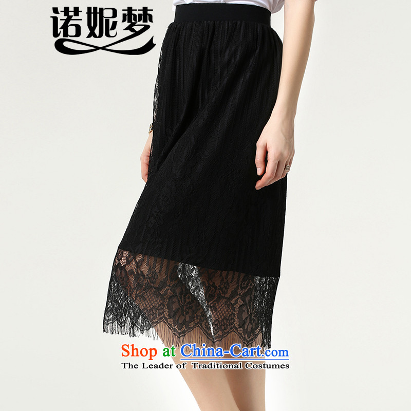 The Ni dream western lace body skirt to increase women's code 200 catties 2015 Summer new fat mm sleek and hem package and s1512 black燲XL