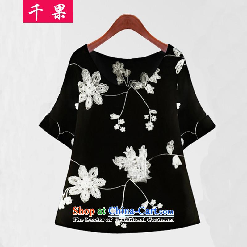 Thousands of fat xl coga female thick mm Summer 2015 new liberal video thin chiffon short-sleeved shirt two kits燭-shirt short skirt Kit 5836 Black�L175-210 around 922.747