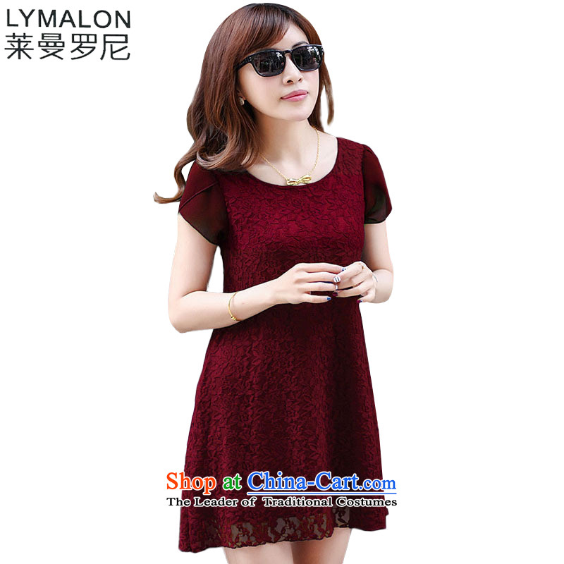 The lymalon lehmann thick, Hin thin Summer 2015 mm thick new larger female to intensify loose short-sleeved dresses 1021XXXXL wine red