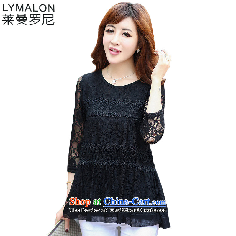 The lymalon lehmann thick, Hin thin Summer 2015 mm thick new larger women to increase in Loose Cuff lace Netherlands 950 Black燲XXL