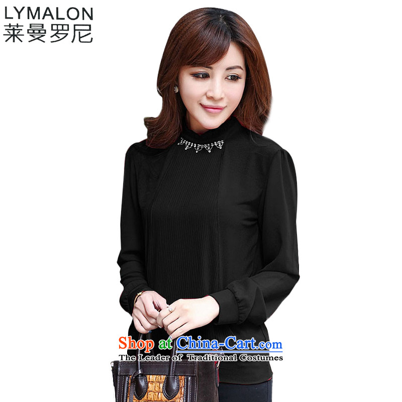 The lymalon lehmann thick, Hin thin autumn 2015 mm thick new larger women to increase long-sleeved shirt loose chiffon燲XXXL 131 Black