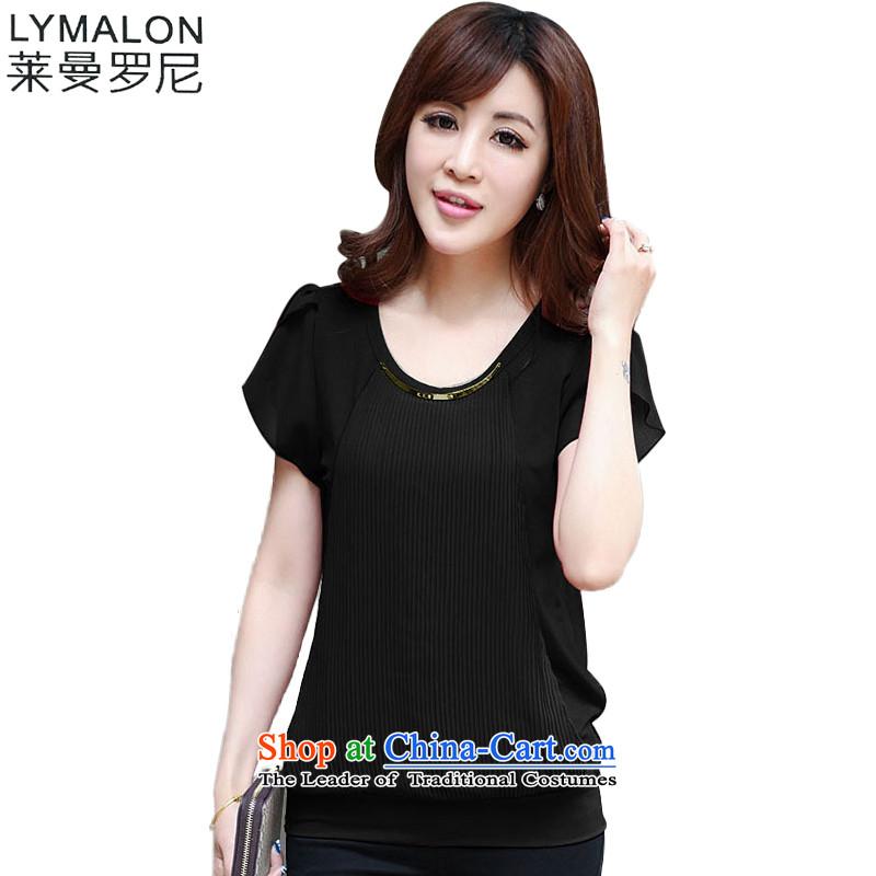 The lymalon lehmann thick, Hin thin spring 2015 mm thick new larger women to increase bandwidth short-sleeved T-shirt chiffon 130 Black燲XL