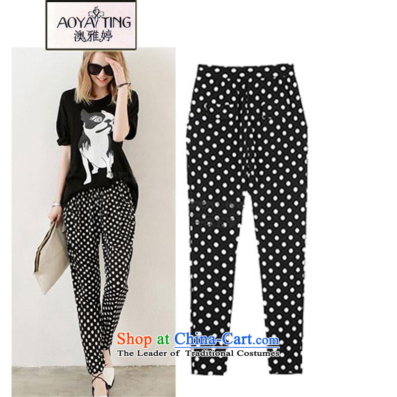 O Ya-ting 2015 new to increase women's code thick black and white Summer Waves mm point Harlan Pants color photo of female XL 115-128 recommends that you Jin