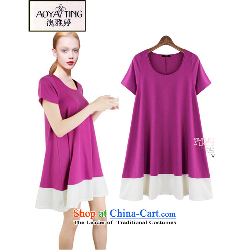 O Ya-ting2015 new to increase women's code thick MM summer video thin A skirt modal shirt female aubergine5XL175-200 recommends that you Jin