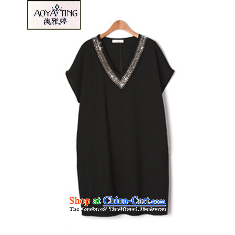 O Ya-ting 2015 new to increase women's code thick MM summer V-Neck dresses video thin nail pearl shirt female black 3XL 145-165 recommends that you Jin