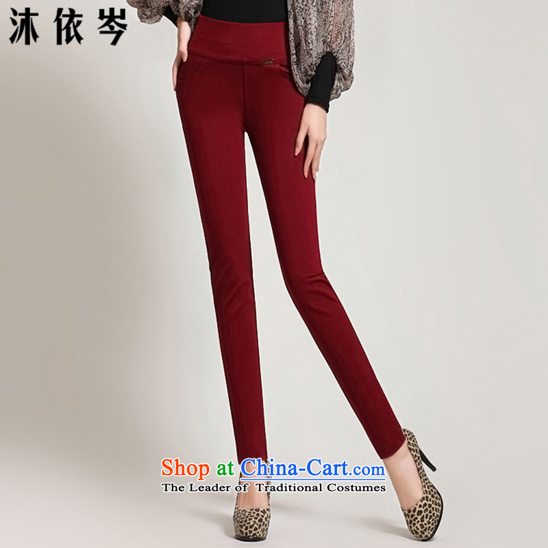 In accordance with the CEN 2015 bathing in the autumn and winter new Korean women to xl thick Solid castors trousers relaxd mm wild Ms. leisure trousers 238_ wine red燣105-120 catty