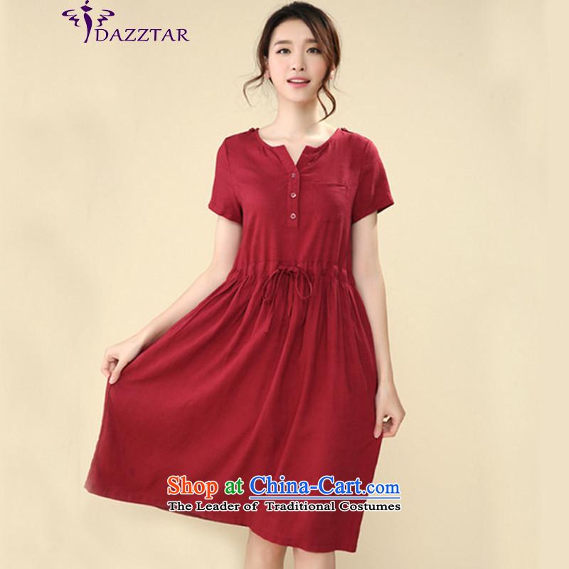 The new summer 2015 DAZZTAR larger female cotton linen dresses female summer tether Linen Dress long skirtLYQ0059wine redXXL