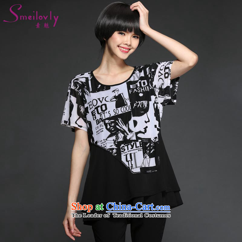 The Director of the women's code to increase the summer thick Korean modern stamp MM short-sleeved T-shirt chiffon shirt,� 1345爌ictures graphics thin large tri-color code 4XL suitable for 180 around 922.747