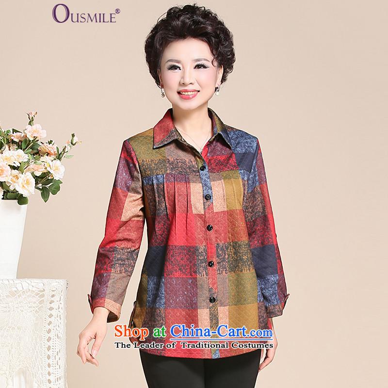 Load the autumn 2015 stylish ousmile moms long-sleeved shirt, lattices t-shirt, jacket of older women's�6 large爎ed grid燲XL