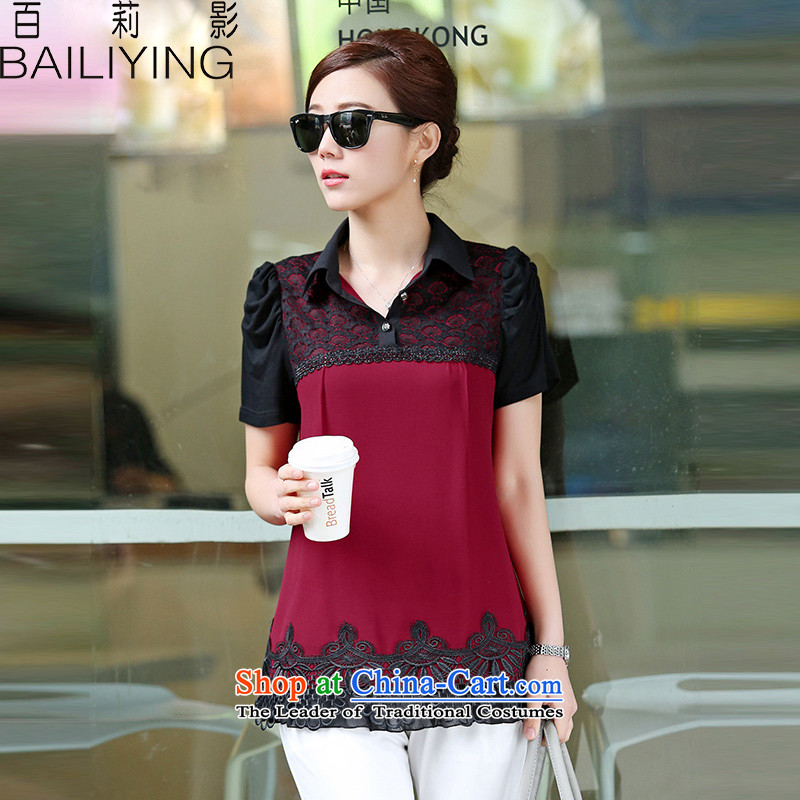 Hundred Li Ying�15 new summer products code T-shirts loose video thin short-sleeved lace stitching round-neck collar chiffon Netherlands shirt�L chestnut horses