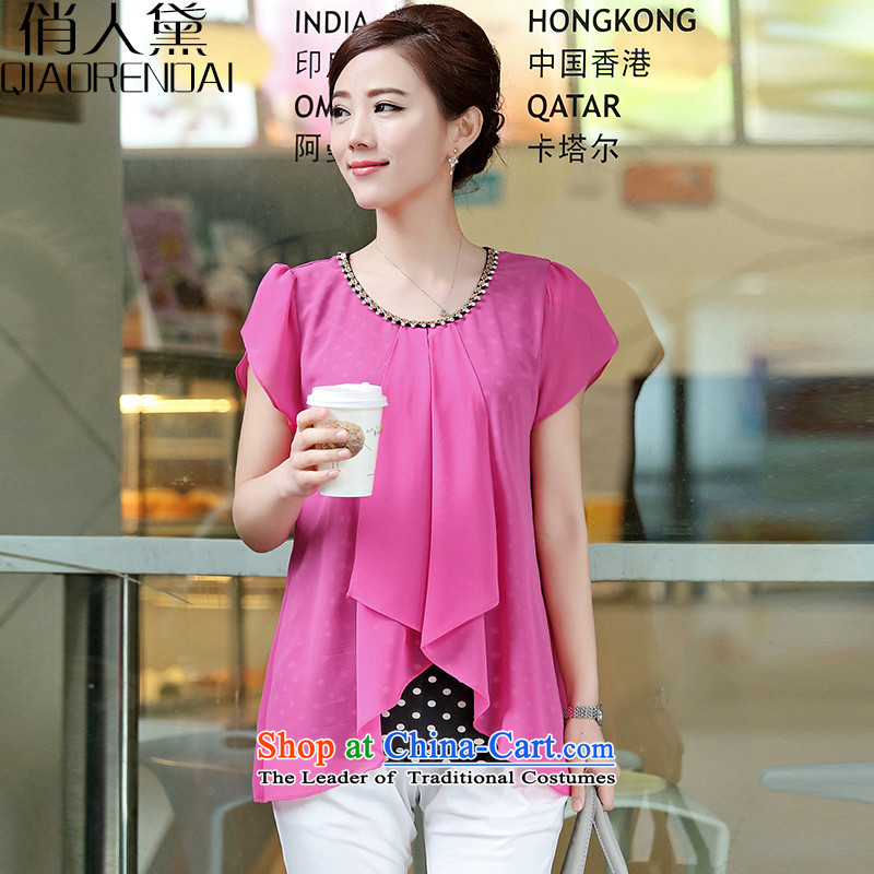 For the people燽y 2015 Summer Doi new Korean short sleeve loose staples for larger manually link leave 2 part of the Netherlands chiffon female red燲XXL