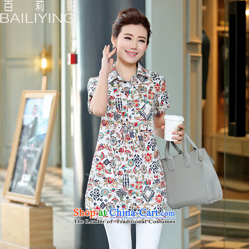 Hundred Li Ying 2015 Summer new mother in older cotton short-sleeved shirt with floral in long coat female elephant White燤