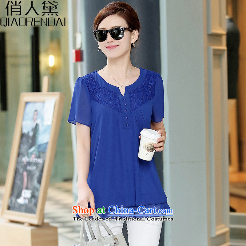 For the people of the new 2015 Summer Doi Korean version of large numbers of ladies short-sleeved shirt women chiffon fat mm female small blue T-shirt燲L