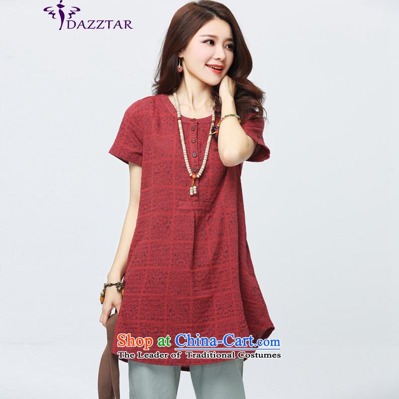The new summer 2015 DAZZTAR larger female short-sleeved shirt Korea linen version loose cotton linen tunic燙S0060 female燫ED燤
