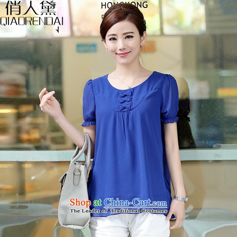 For the people燽y 2015 Summer Doi new Korean female chiffon shirt female sweet bow tie blue T-shirt燲XXL Double