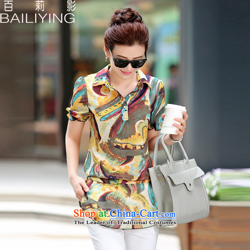 Hundred Li Ying Summer 2015 new products and new stylish decoration with suction short-sleeved T-shirt with round collar chiffon�L yellow T-Shirt