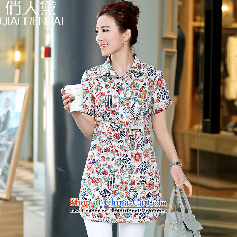 For the爏ummer of 2015 New Doi_ long special floral cotton shirt xl loose female elephant white燣