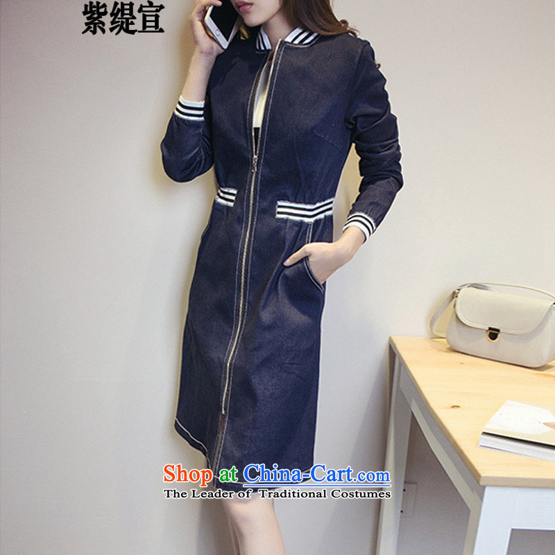 The first declared as thick mm to increase women's code during the spring and autumn Korean new long-sleeved in long Leisure Cowboy Wind Jacket�09_ cowboy color�L 165- around 922.747 175