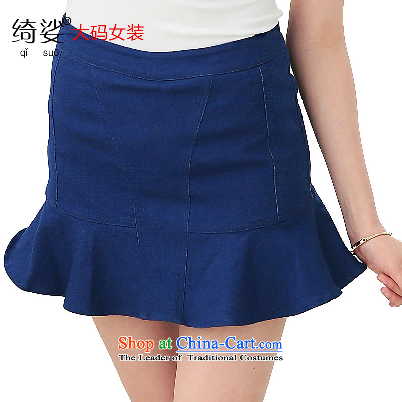 As provided for large 2015 Women's Summer New Korea to increase video edition thin niba petticoats cowboy body skirt�03燽lue flowers�L