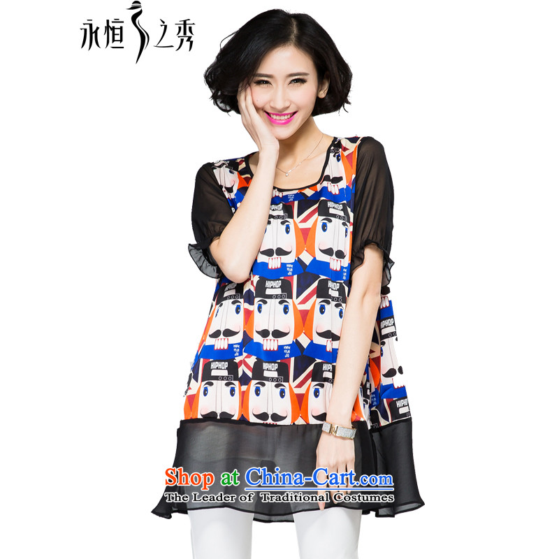 The Eternal-soo to xl t-shirts thick sister 2015 Summer new product expertise, Hin thick mm thin, long stylish cartoon stamp loose T-shirt Black XL