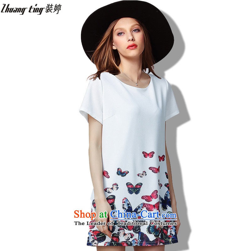 Replace Ting zhuangting2015 summer the new Europe and the large number of ladies loose video thin stretch short-sleeved dress 60303 White XL