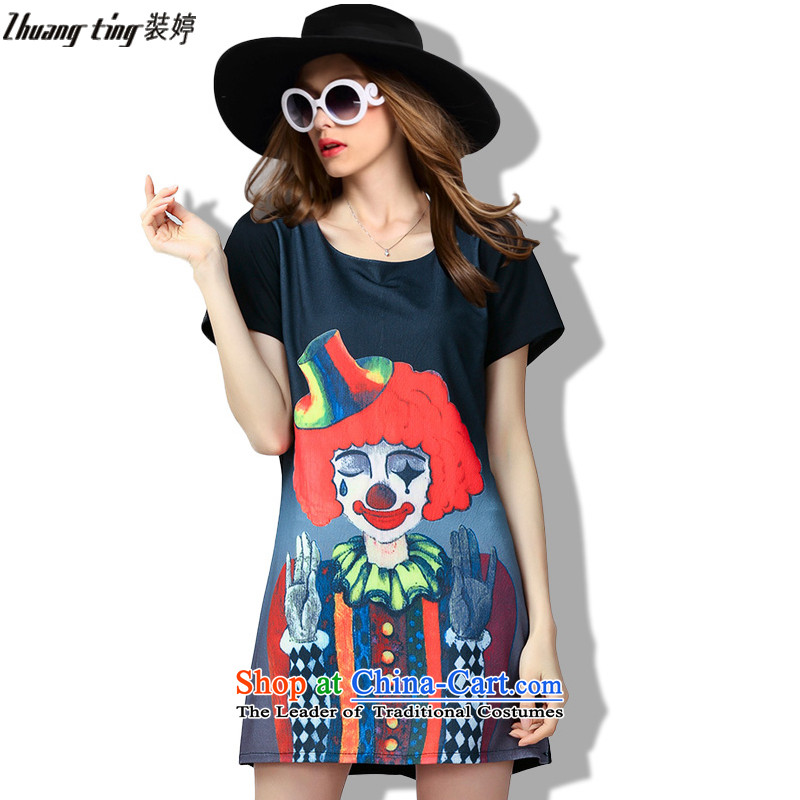 Replace Ting zhuangting2015 summer thick mm new high-end western wild larger female stamp short-sleeved dresses 60313 Black�L