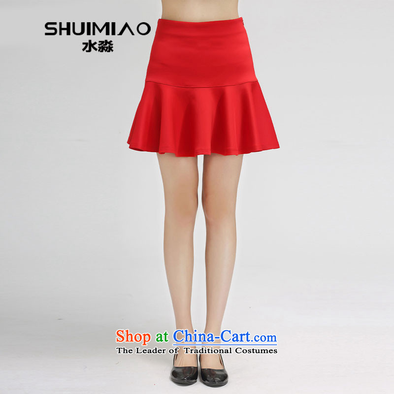 The representative of the water high-end women 2015 Spring new upper body skirt Korean high elastic waist pleated skirts S15CBY4531 hundreds 3XL red