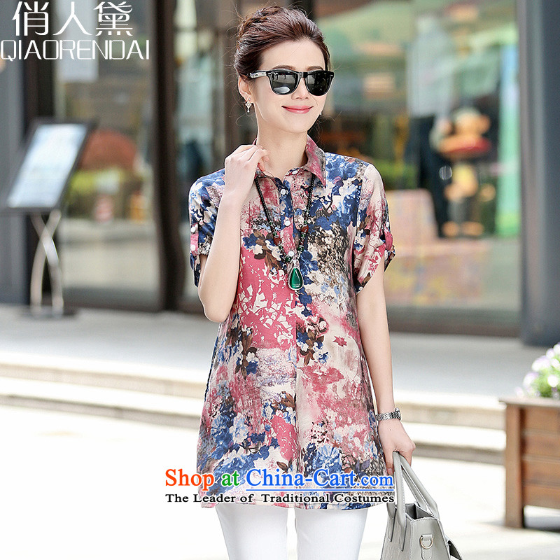 For the people燽y 2015 T-shirt and women to Doi Code women's summer short sleeve loose ink for printing and dyeing and Temperament Korean MM thick blue flowers燲XL_135-155_ Shirt