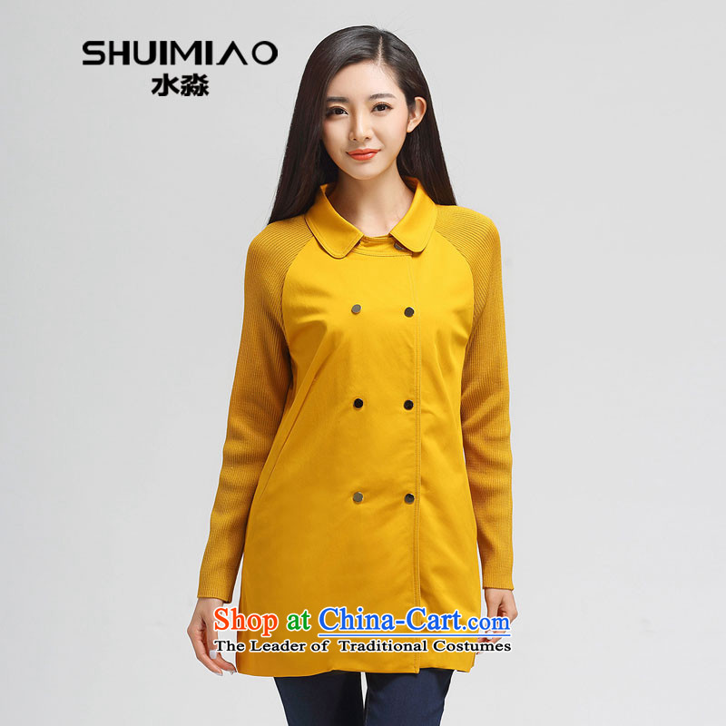 Water Spring 2015 of new large female thick mm dolls collar double row is Long Hoodie S15CH4668 yellow燲XL