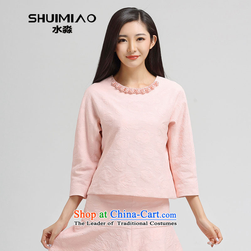 High-end of the water for larger women 2015 Spring New small wind round-neck collar pearl-nails sweater t-shirt S15CJ4659 honey toner燣