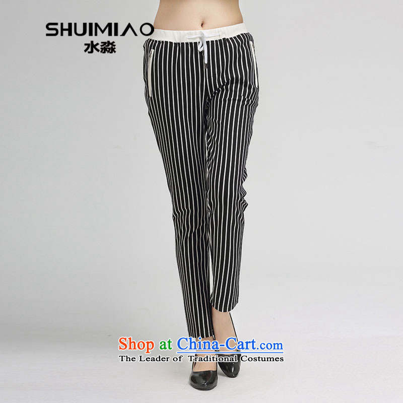 Water Spring 2015 of new large female Korean leisure ladies pants elastic waist trousers score of 9 high S15CW4537 black and white, L
