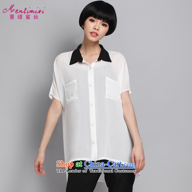 Overgrown Tomb economy honey population by 2015 Summer new xl female thick MM temperament Korean knocked color shirt chiffon 1356 large white code 4XL around 922.747 175