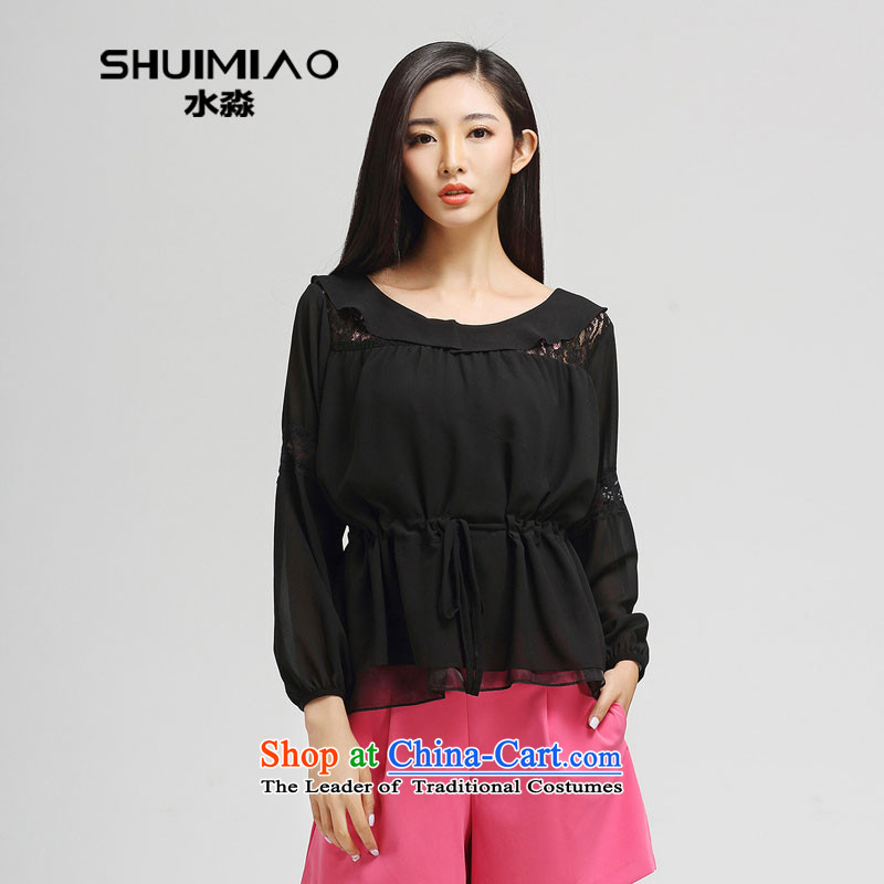 By 2015 Korea Water version of large numbers of ladies spring and summer new 9-sleeved T-shirt lace engraving smock S15CK4404 Carbon Black?XL
