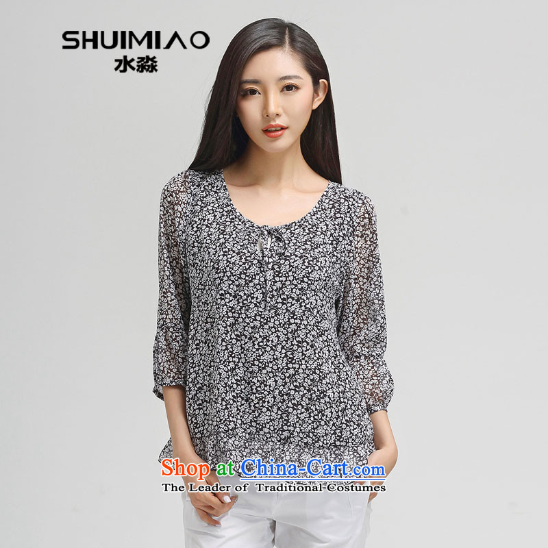 The representative of New Water Spring 2015 Korean thick mm maximum code of 7-sleeved T-shirt female wild meat S15CK4689 Tibetan black and white flower?L