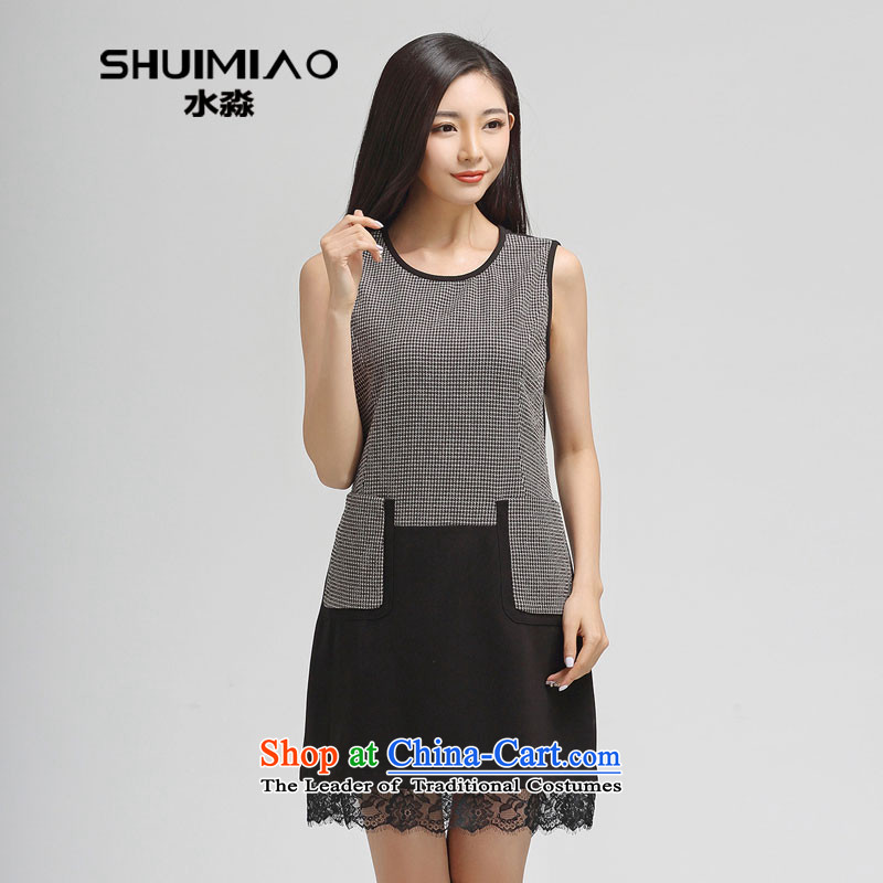 The representative of the water for larger female spring 2015 the new Korean chidori of forming the skirt vest skirt S15CZ4424?3XL carbon black