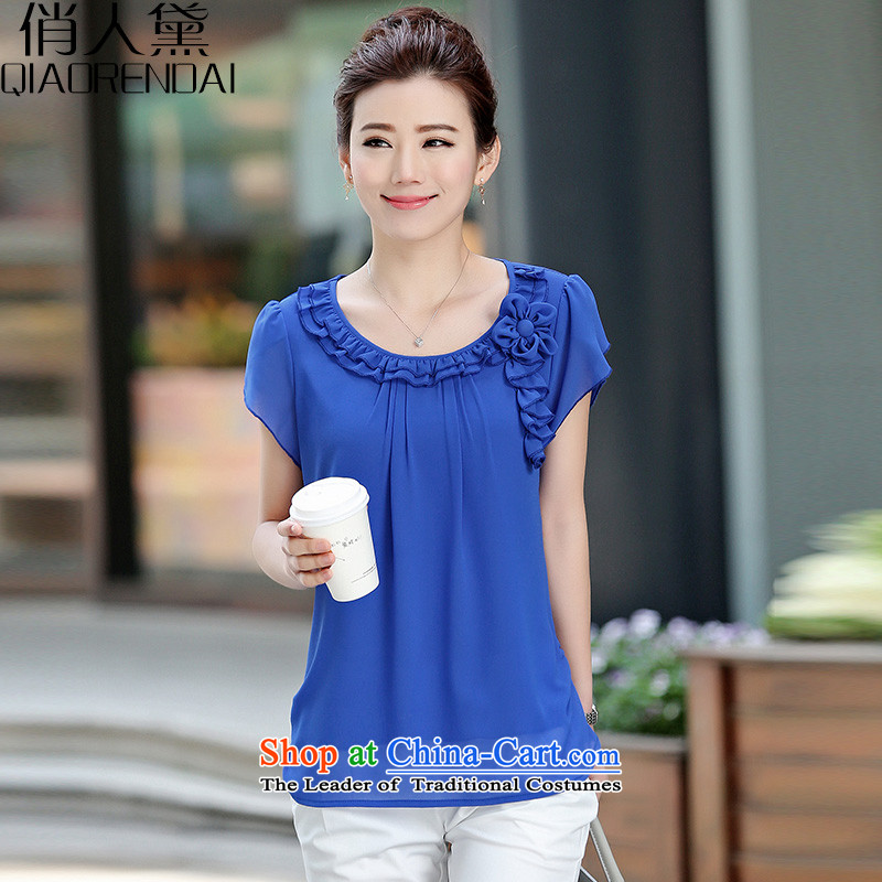 For the people?by 2015 a new summer of Estee Lauder Korea version for thick MM coat lace short-sleeved shirt larger chiffon female blue?XL