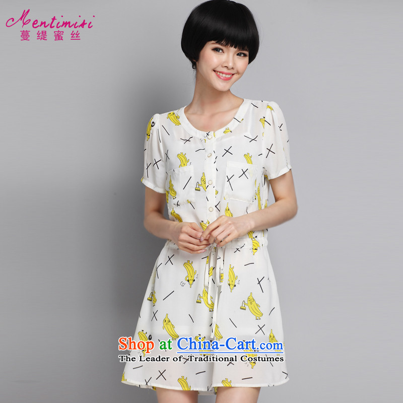 Overgrown Tomb economy honey population by 2015 Summer new to increase women's code thick MM stylish cotton printed dresses�84爌icture color large code 4XL around 922.747 175