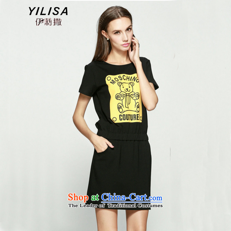 The new king code YILISA women 200 catties thick mm summer Korean cartoon cubs figure dresses thick sister video thin even turning skirts K870 black?XXL