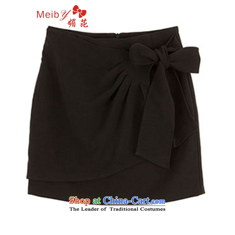 Large meiby female wild Sleek and versatile large spring new Korean Womens Bow Tie package and the chiffon body skirt step short skirts 228-1 black?XS