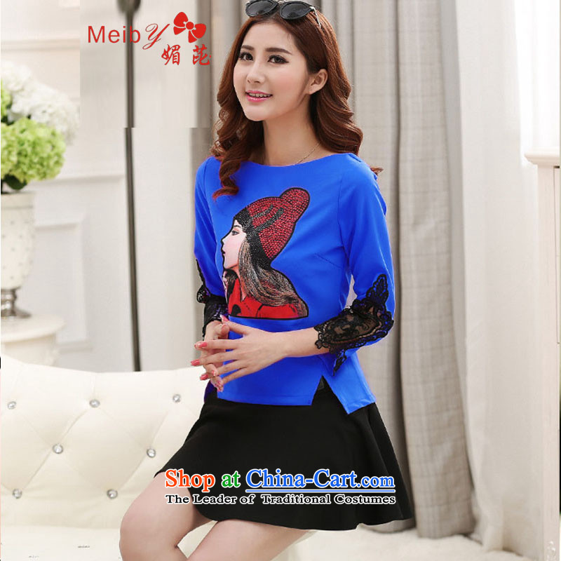 Maximum number of ladies wild Sleek and versatile large spring new Korean president aristocratic kit skirt short skirt stamp two kits stylish 7 cuff dresses5566 Blue?S