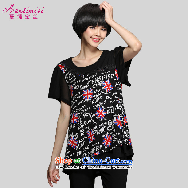Overgrown Tomb economy honey population?by 2015 Summer new stylish personalized check spend large letters T-shirt thick clothes?M1344 MM?black?5XL