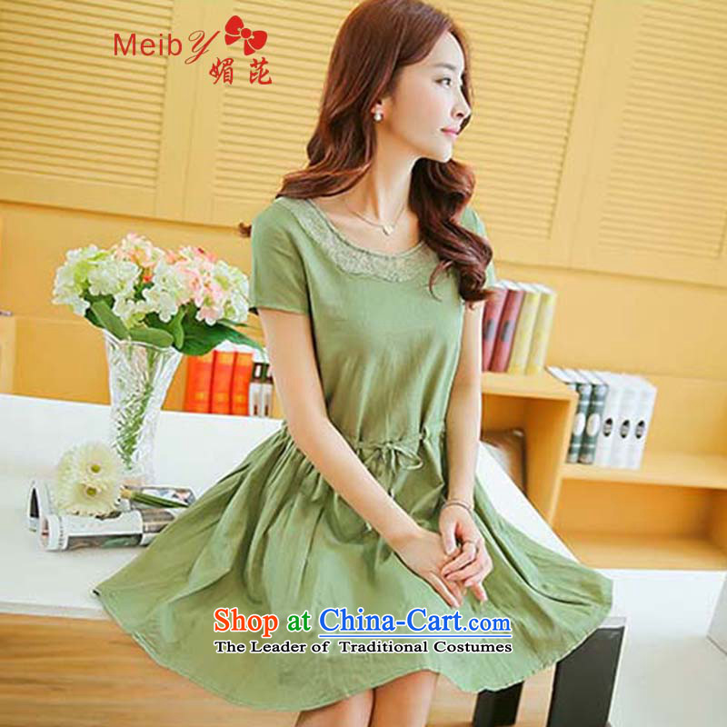 Large meiby female wild summer new round-neck collar lace short skirt retro arts loose short-sleeved larger sum female cotton linen dresses 7,859 Green?M
