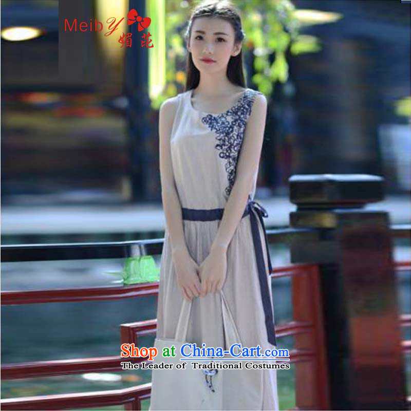 Large meiby female wild summer genuine literary circle van embroidery sleeveless shirt cotton linen cluster singlet that long skirt skirt 6634 Light Gray燬