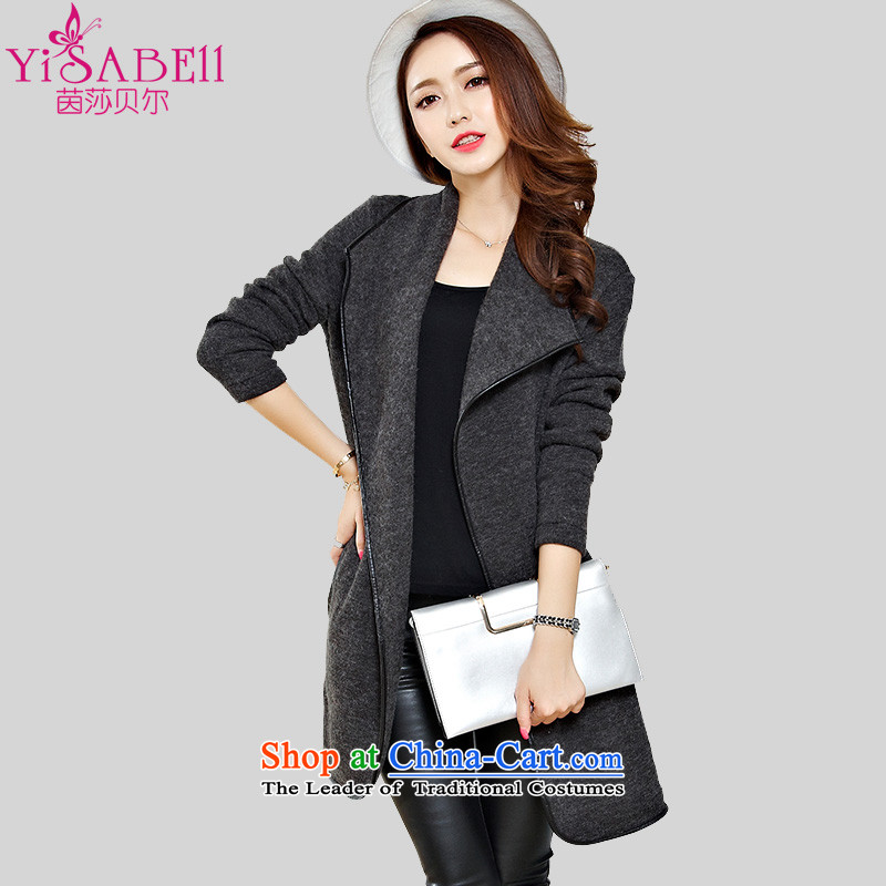 Athena Chu Isabel plus hypertrophy code women autumn and winter, thick mm loose woolen shawl frock coat gross mantle Korean version of this casual jacket聽1290聽Gray聽2XL聽recommendations 135-150 catty