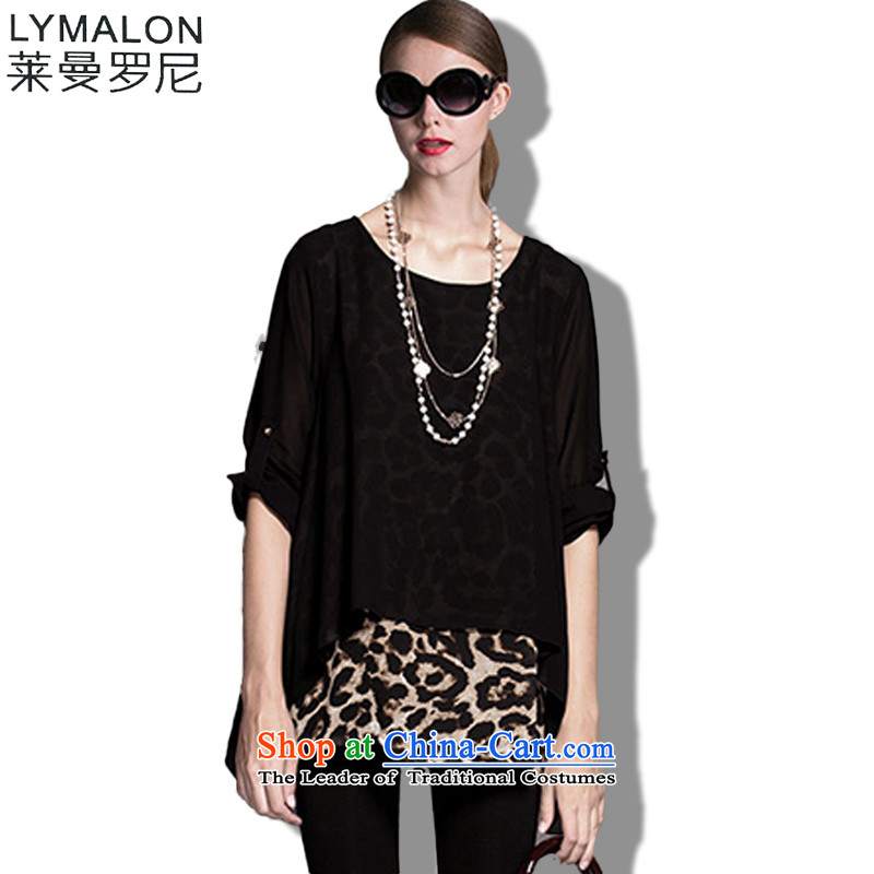 The lymalon lehmann thick, Hin thin 2015 Autumn replacing the new Europe and the large number of ladies fashion leopard leave two T-shirts are Black 0045?XL